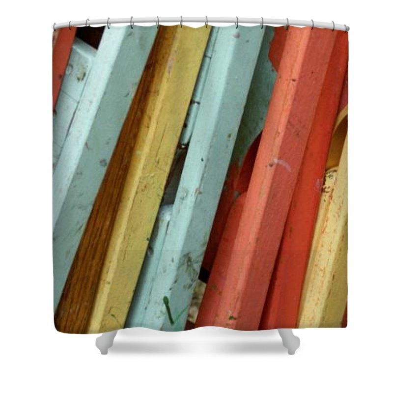 Colorful Shower Curtain featuring the photograph Pastel Chairs Still Life 2 by John Harmon