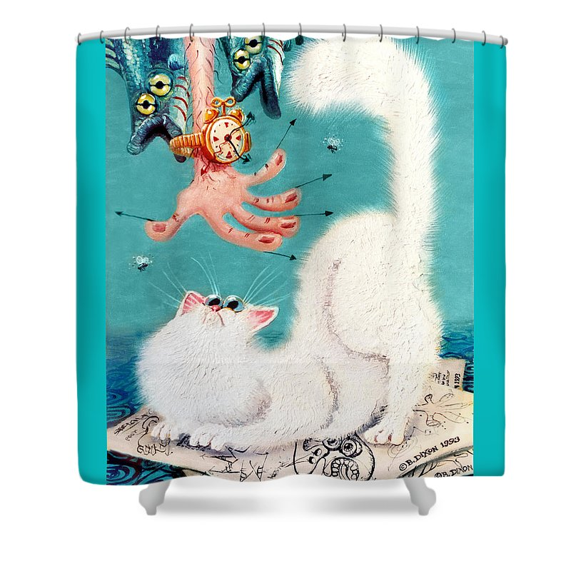 Cat Shower Curtain featuring the painting Pat That Cat by Baron Dixon