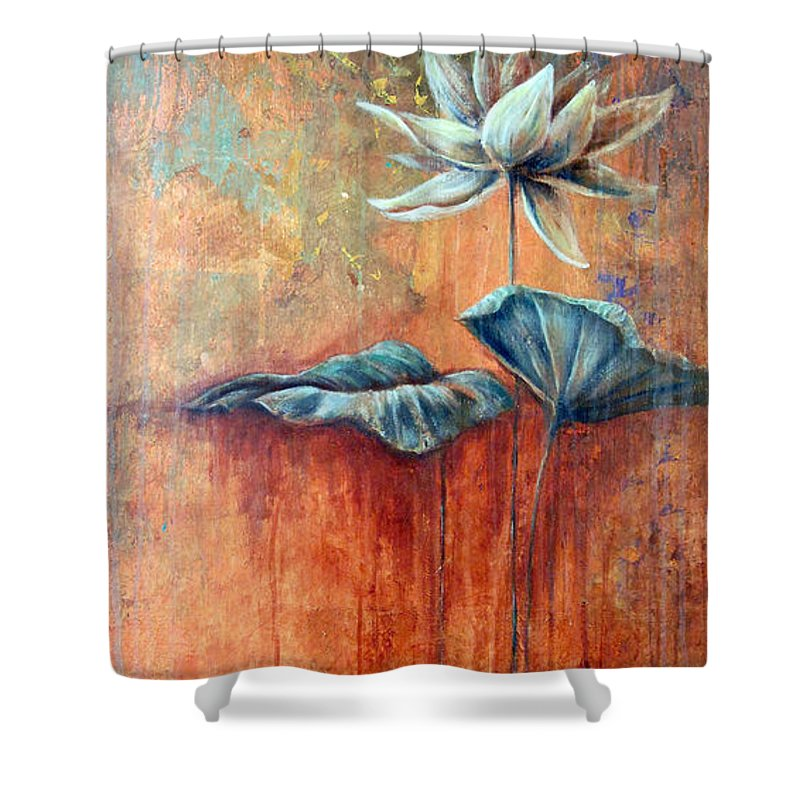 Floral Shower Curtain featuring the painting Patina Lotus by Ashley Kujan