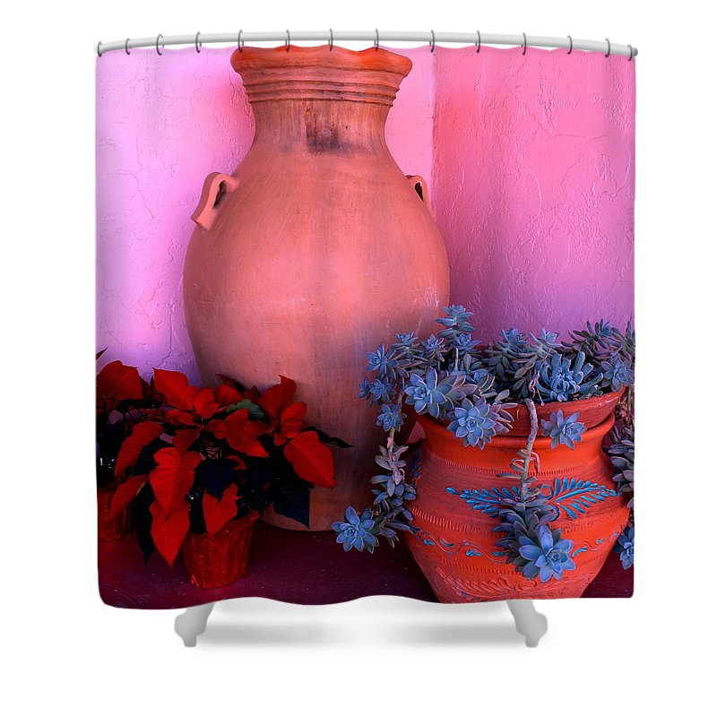 Pottery Shower Curtain featuring the photograph Patio 2 by M Diane Bonaparte