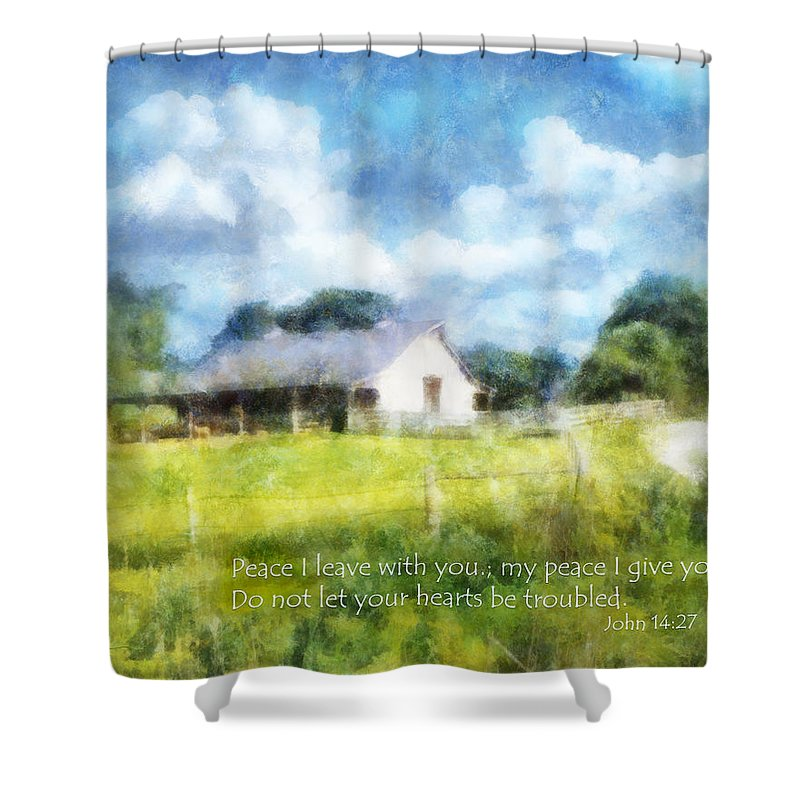 Barn Shower Curtain featuring the digital art Peace Be With You by Francesa Miller