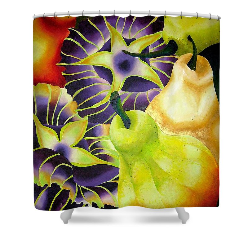 Pears Shower Curtain featuring the painting Pear by Elizabeth Elequin