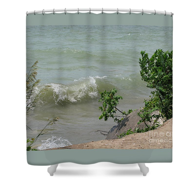 Lake Shower Curtain featuring the photograph Pelee Shore by Ann Horn
