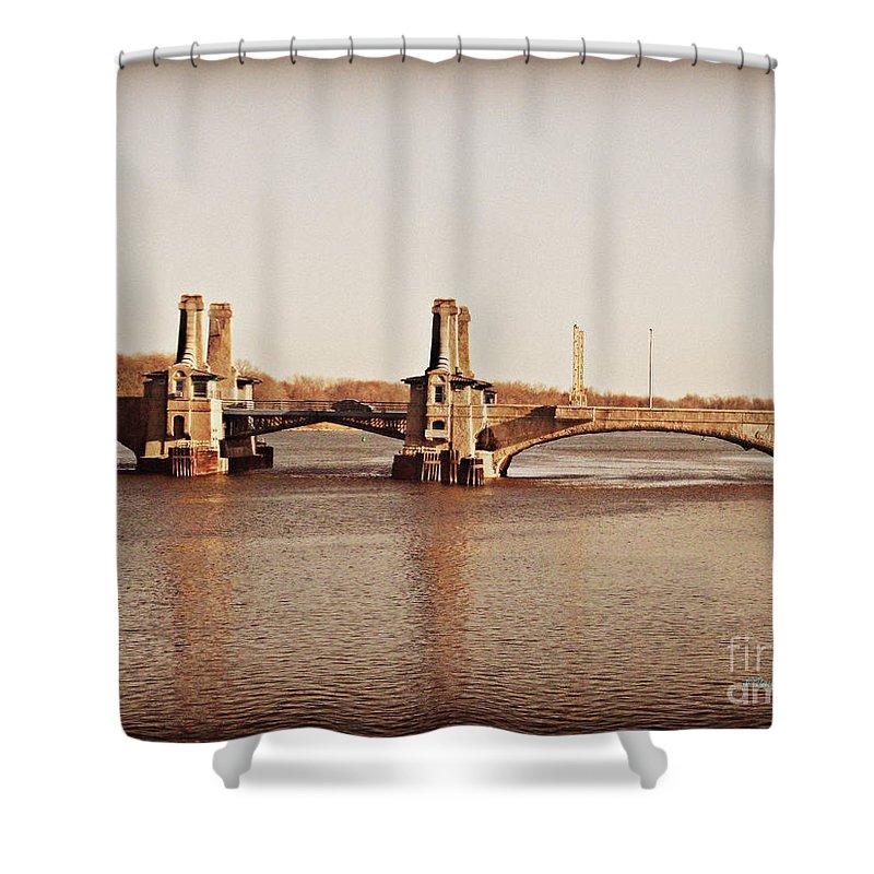 Pelham Shower Curtain featuring the photograph Pelham Bridge In Sepia by Paulette B Wright