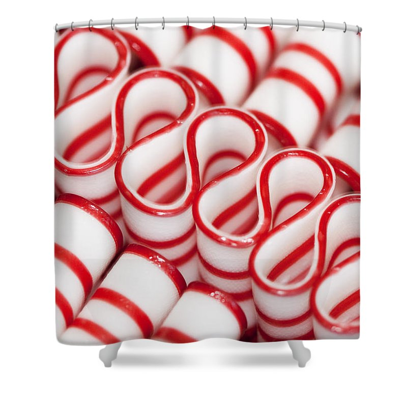 Red Shower Curtain Featuring The Photograph Peppermint Ribbon Candy By Kathy Clark