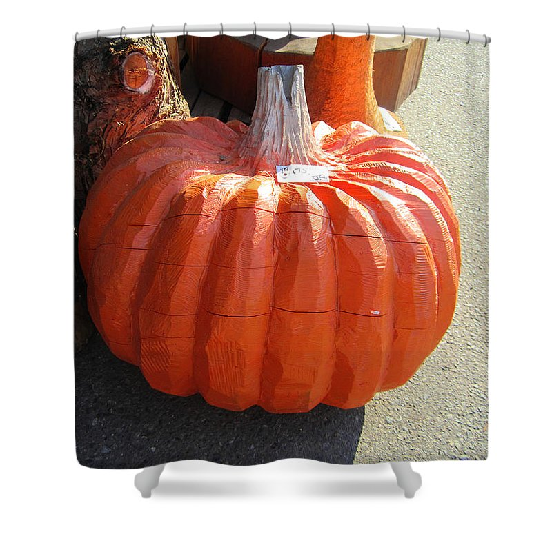 Wooden Orange Pumpkin Shower Curtain featuring the photograph Perfect Pumpkin Forever by Kym Backland