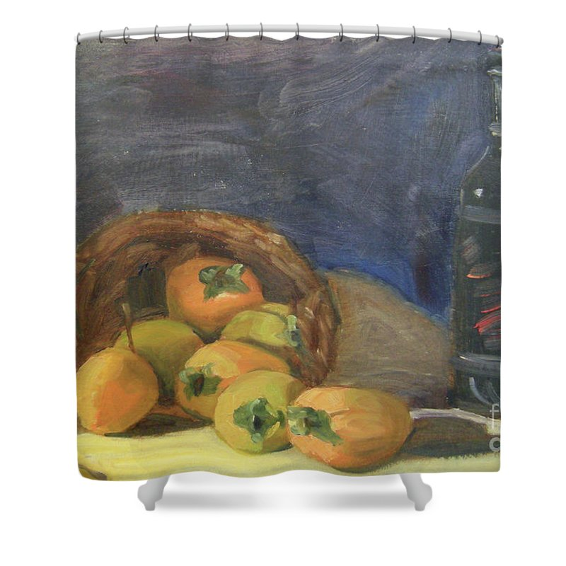 Still Life Shower Curtain featuring the painting Persimos Y Vino by Lilibeth Andre