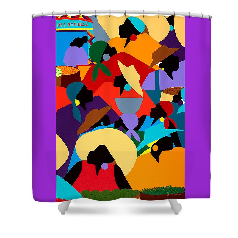 Petion Ville Shower Curtain featuring the painting Petion Ville Market II by Synthia SAINT JAMES