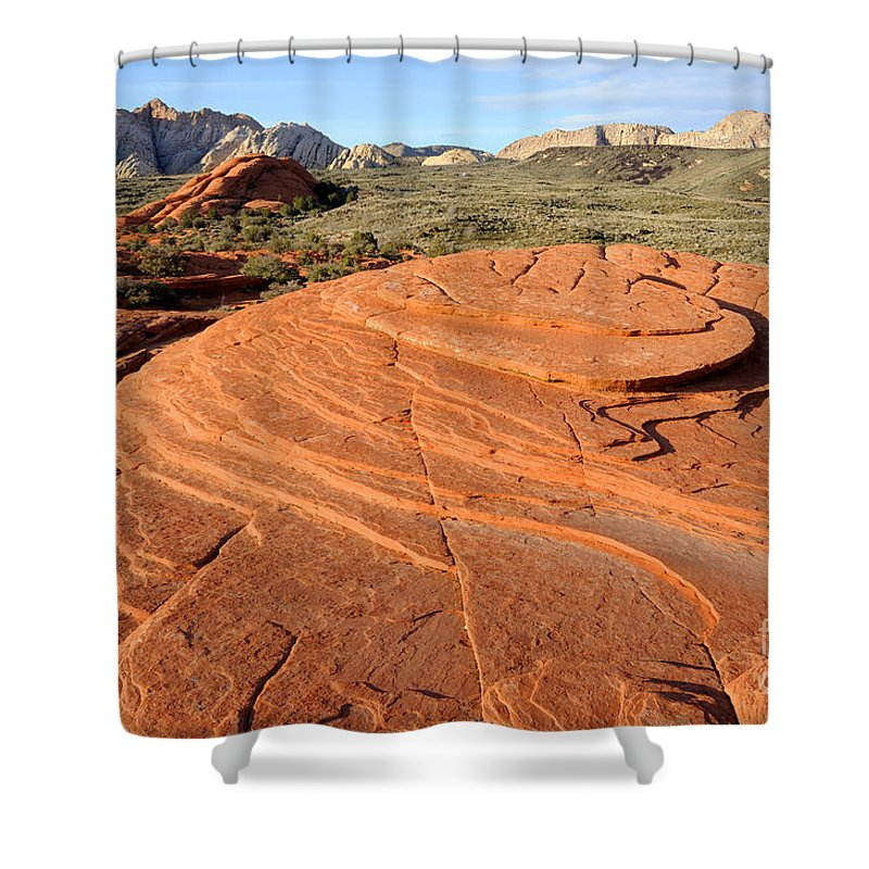 Bedrock Shower Curtain featuring the photograph Petrified Sand Dunes - Snow Canyon Utah by Gary Whitton