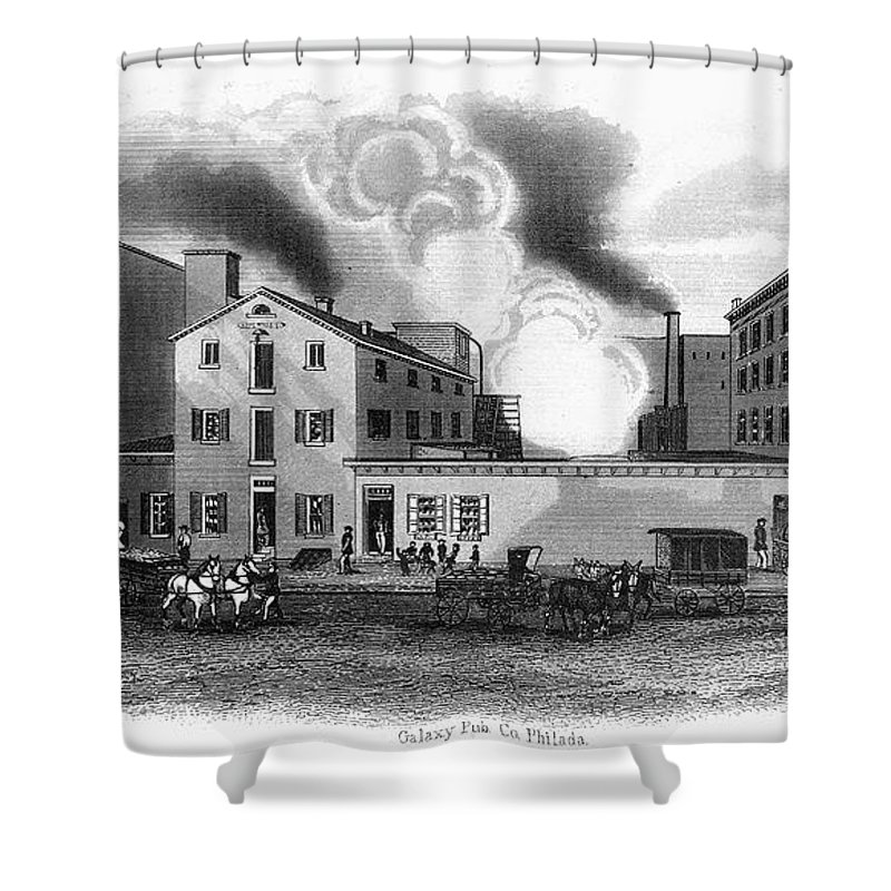 1860s Shower Curtain featuring the photograph Philadelphia: Distillery by Granger