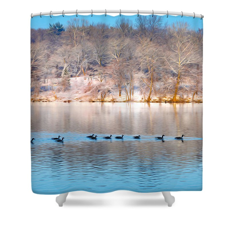 Philadelphia Winter Scene Shower Curtain Featuring The Photograph By Bill Cannon