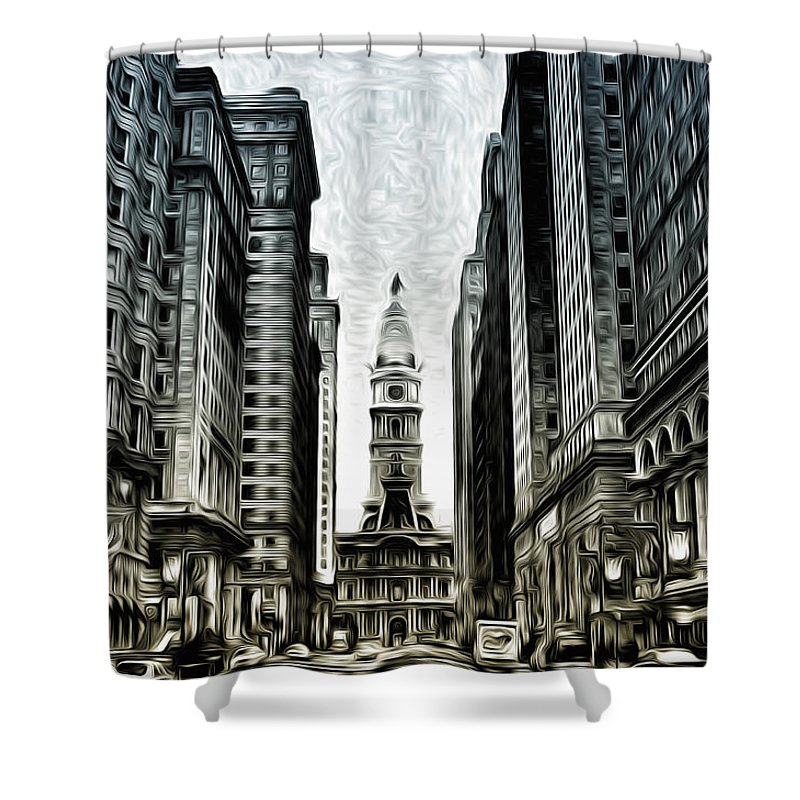 Philly - Broad Street Shower Curtain featuring the photograph Philly - Broad Street by Bill Cannon