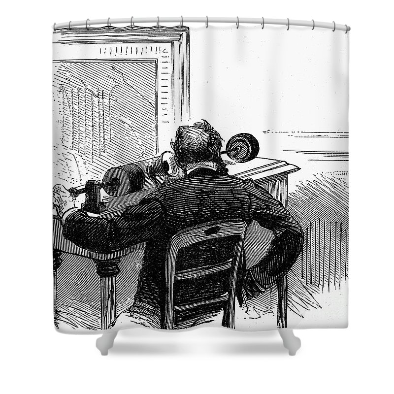 1878 Shower Curtain featuring the photograph Phonograph, C1878 by Granger