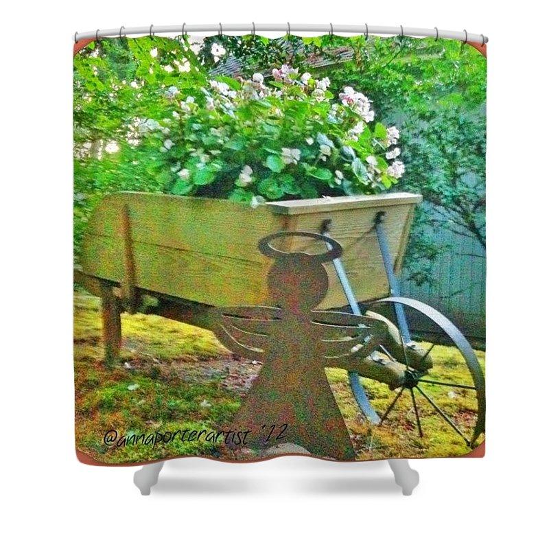 Wheelbarrow Shower Curtain featuring the photograph Funky Wheelbarrow Full Of Flowers by Anna Porter