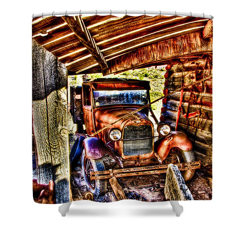 Old Truck Shower Curtain featuring the photograph Pickup Relic by Jon Berghoff