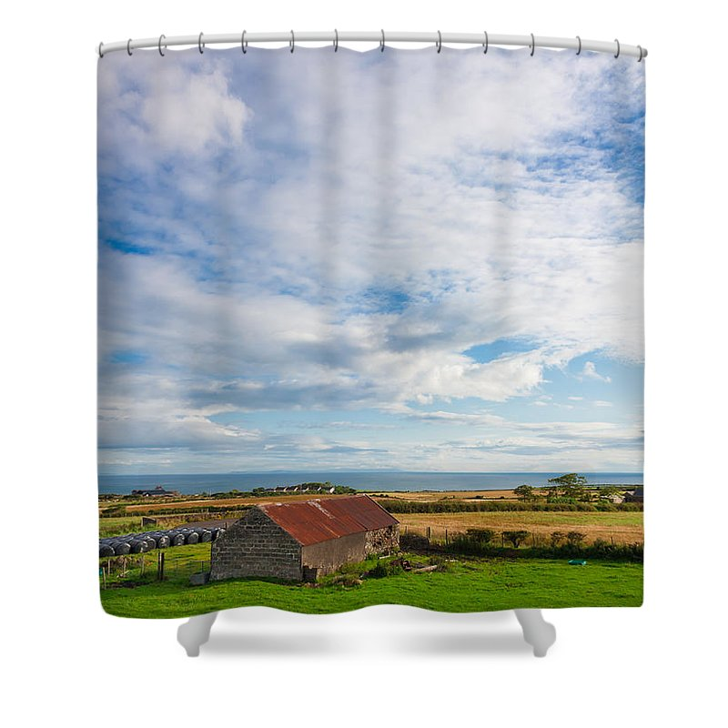 Clouds Shower Curtain featuring the photograph Picturesque Barn by Semmick Photo
