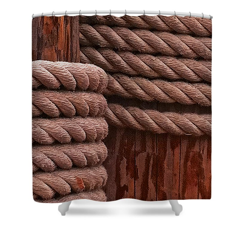 Pier Shower Curtain featuring the photograph Pier Ropes II by Bill Owen