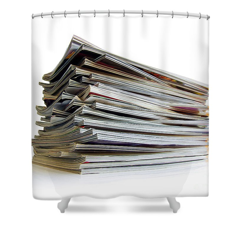 Articles Shower Curtain featuring the photograph Pile Of Magazines by Carlos Caetano