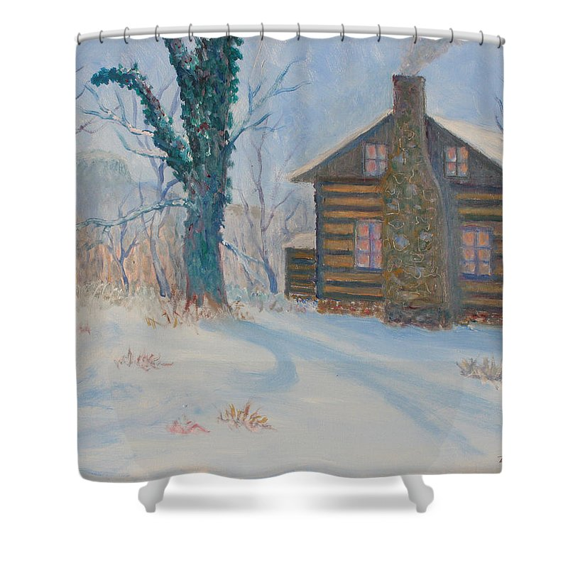 Pilot Mountain Shower Curtain featuring the painting Pilot Mountain Lodge by Ben Kiger