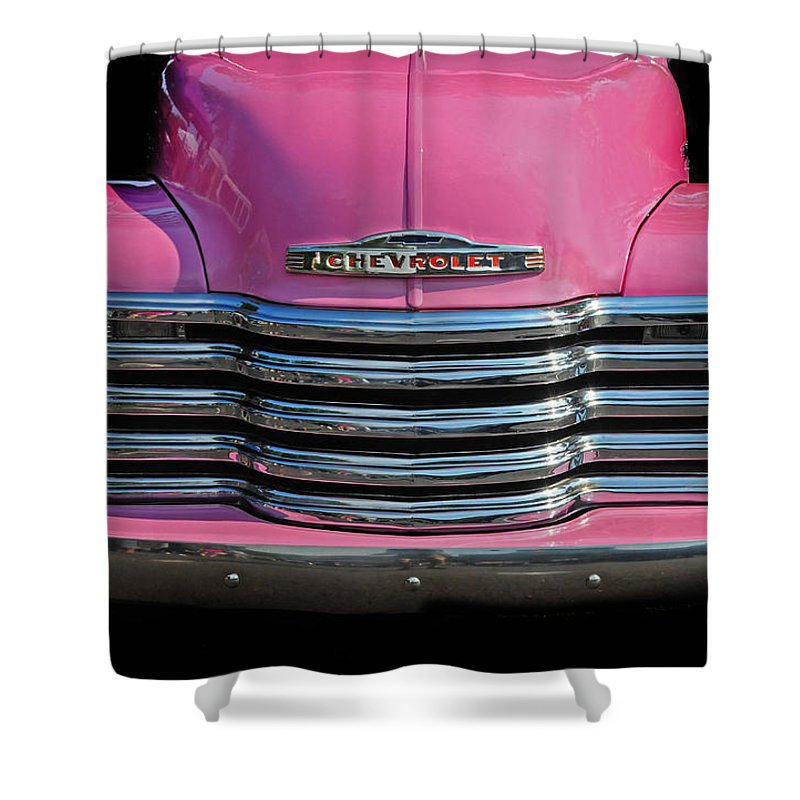 Chevrolet Shower Curtain featuring the photograph Pink Chevrolet Truck by Dave Mills