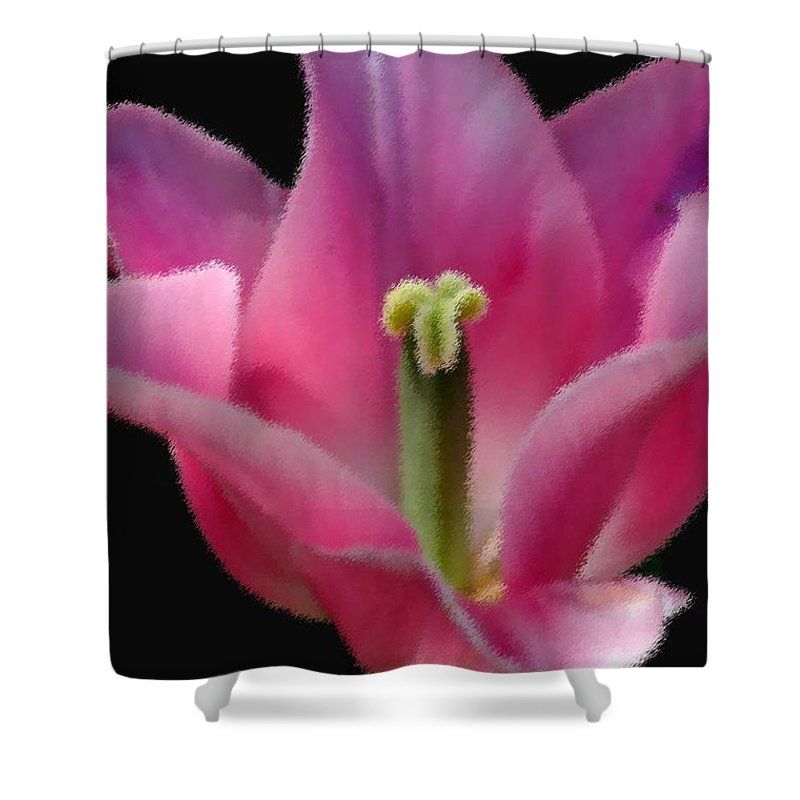 Digital Designs Shower Curtain featuring the photograph Pink Flower by Mark Gilman