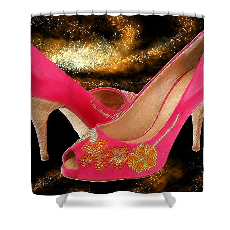 Shoes Heels Pumps Fashion Designer Feet Foot Shoe Stilettos Painting Paintings Illustration Illustrations Sketch Sketches Drawing Drawings Pump Stiletto Fetish Designer Fashion Boot Boots Footwear Sandal Sandals High+heels High+heel Women's+shoes Graphic Sophisticated Elegant Modern Shower Curtain featuring the painting Pink Peeptoe Pumps With Swarovski Crystals by Elaine Plesser
