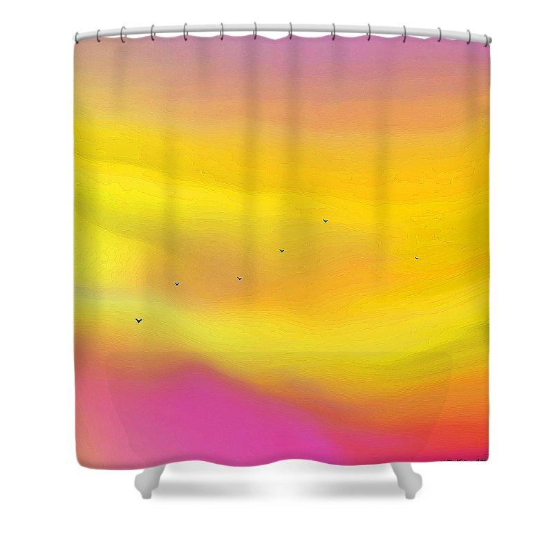 Modern Shower Curtain featuring the digital art Pink Sky Flight by ME Kozdron