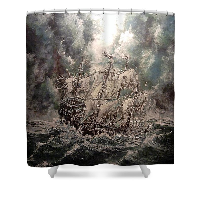 Seascape Shower Curtain featuring the painting Pirate Islands 2 by Robert Tarrant