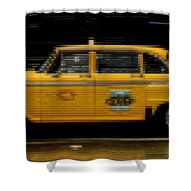 Checker Cab Shower Curtain featuring the photograph Pixel Taxi by Andrew Fare