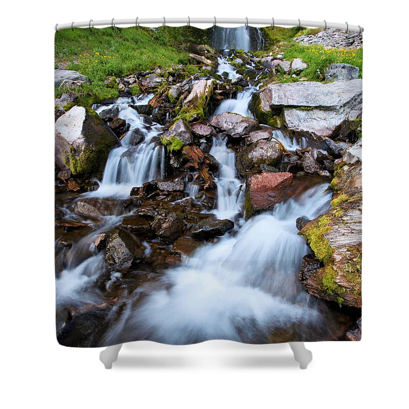 Waterfalls Shower Curtain featuring the photograph Plaikni Falls by Adam Jewell