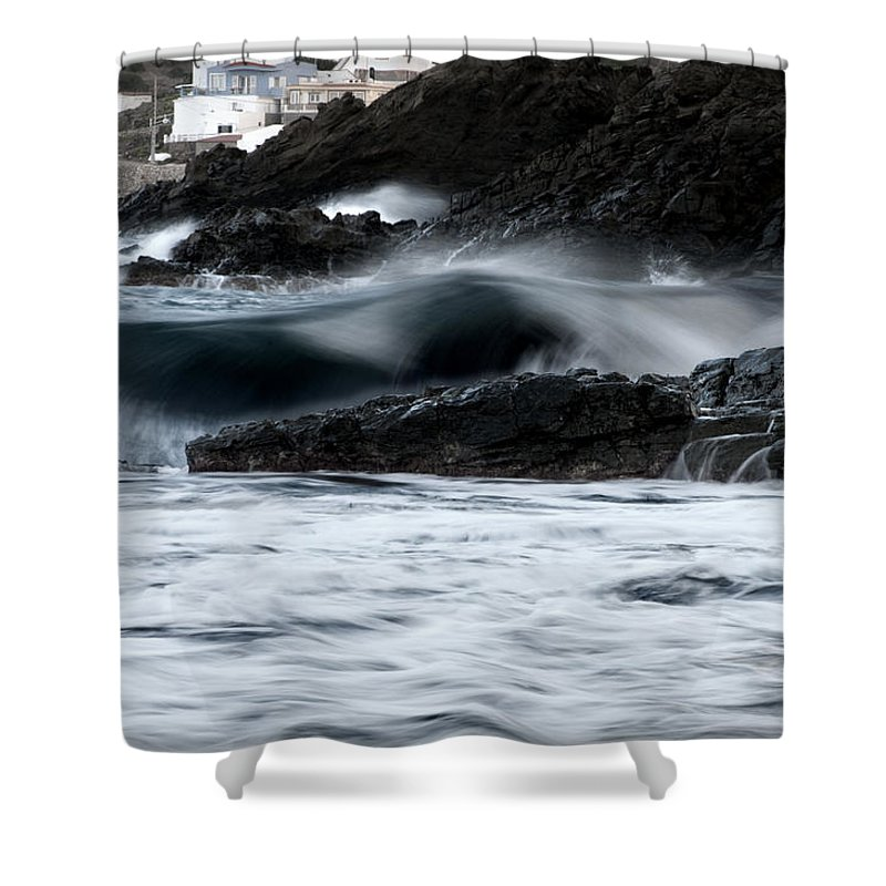 Outdoor Shower Curtain featuring the photograph playing with waves 2 - A beautiful image of a wave rolling in noth coast of Menorca Cala Mesquida by Pedro Cardona Llambias