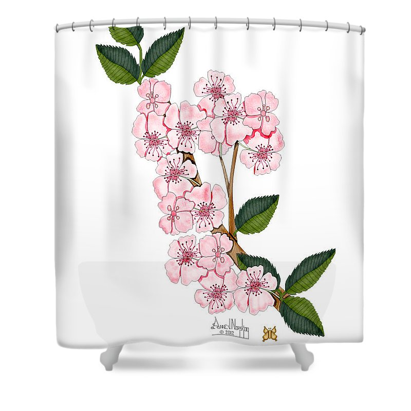 Anne Norskog Shower Curtain featuring the painting Plum Beautiful by Anne Norskog