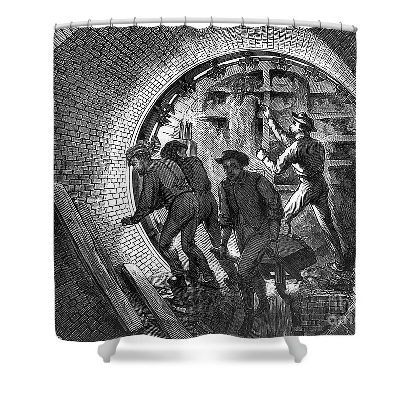 1870 Shower Curtain featuring the photograph Pneumatic Transit, 1870 by Granger