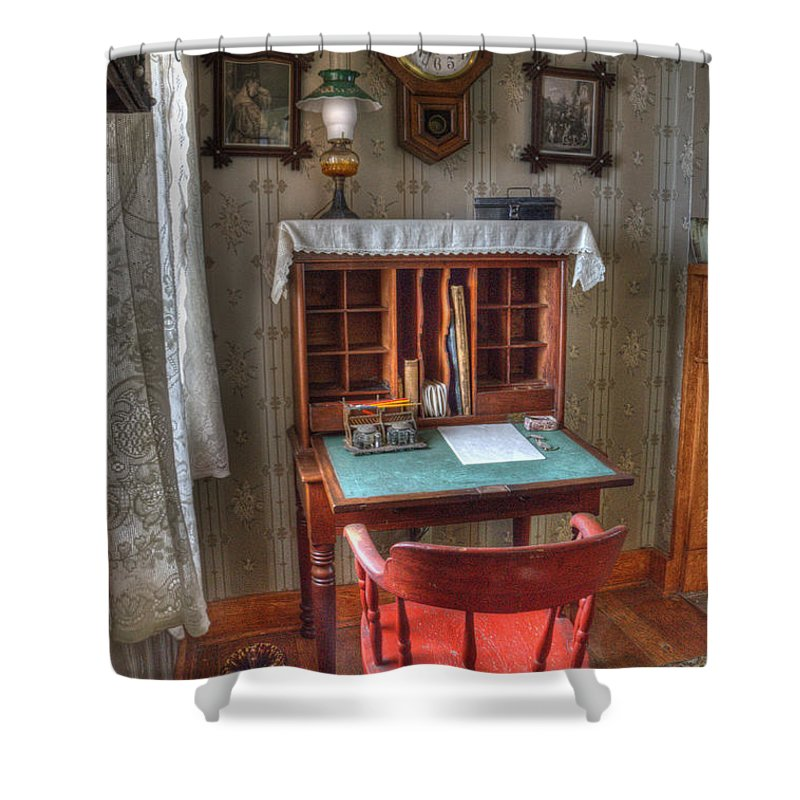 Point Loma Shower Curtain featuring the photograph Point Loma Lighthouse Writing Desk by Bob Christopher