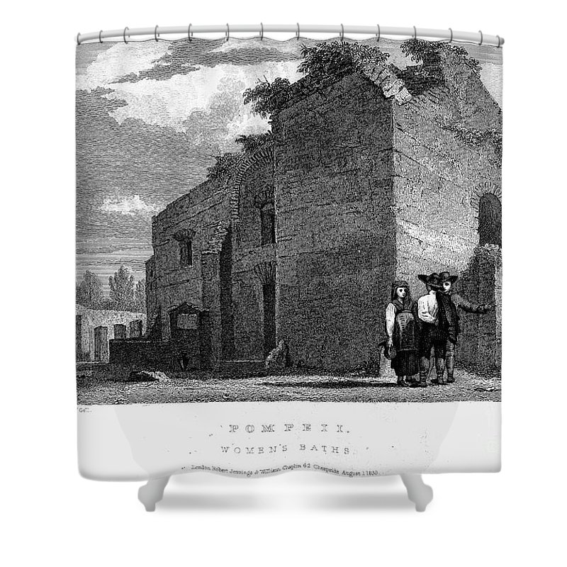 1830 Shower Curtain featuring the photograph Pompeii: Bathhouse, C1830 by Granger