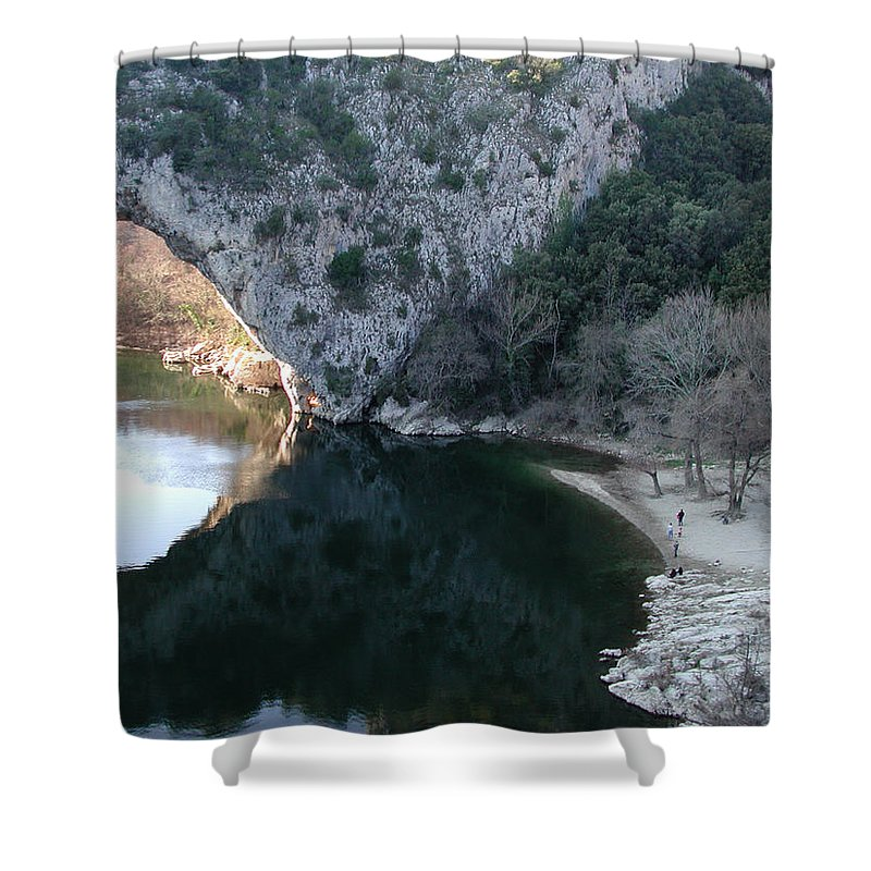 Colette Shower Curtain featuring the photograph Pond Dark Ardeche France by Colette V Hera Guggenheim