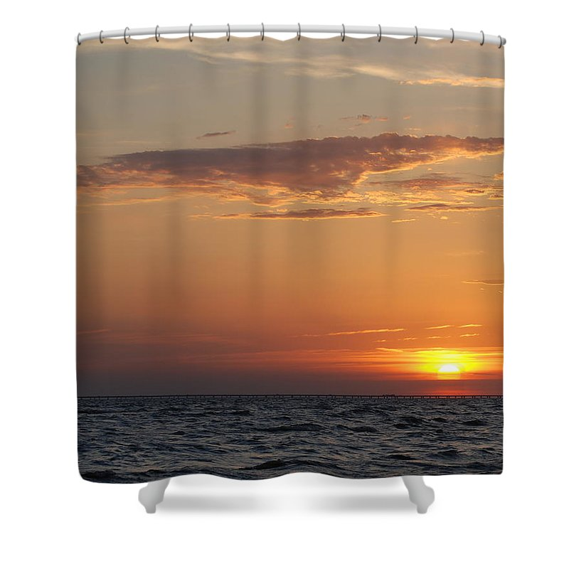 Lake Shower Curtain featuring the photograph Pontchartrain Sunset by Beth Gates-Sully