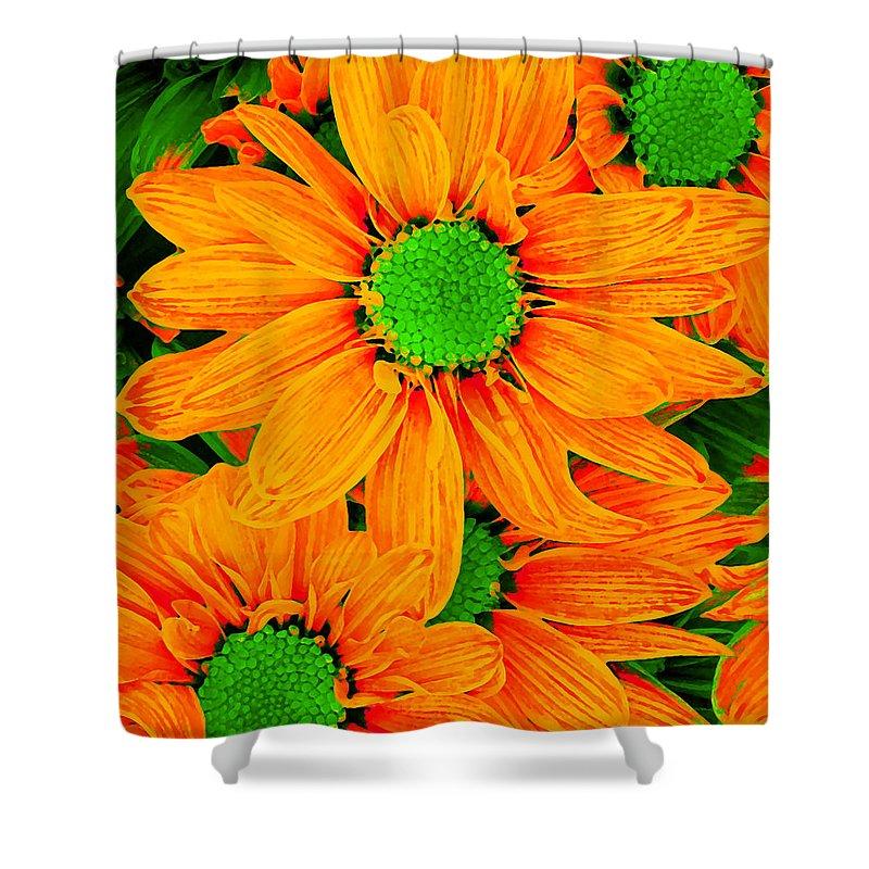 Pop Daisy Shower Curtain featuring the digital art Pop Art Daisies 13 by Amy Vangsgard