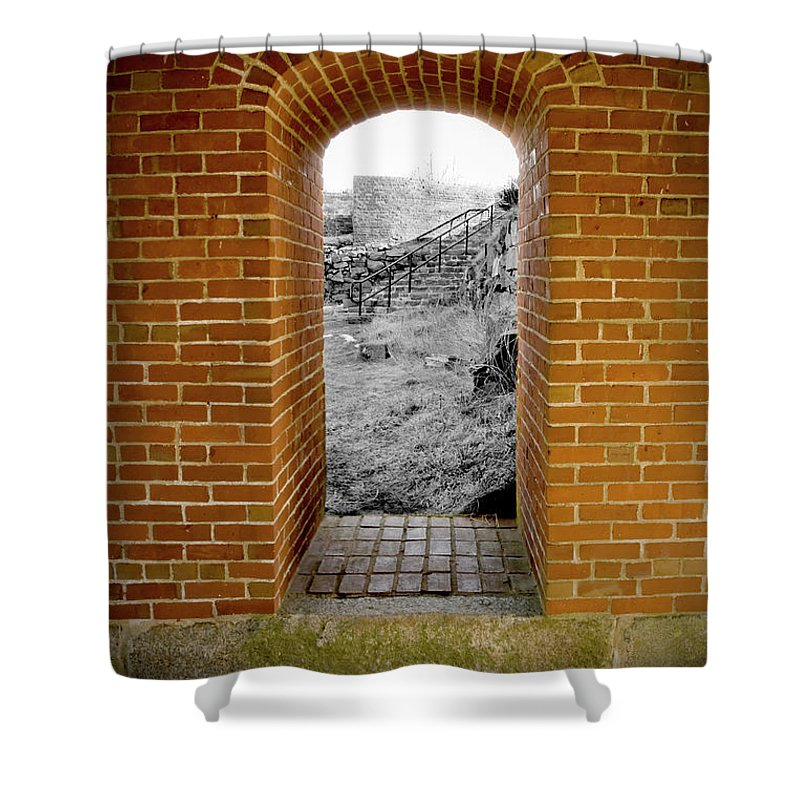 Brick Shower Curtain featuring the photograph Portal To The Past by Greg Fortier