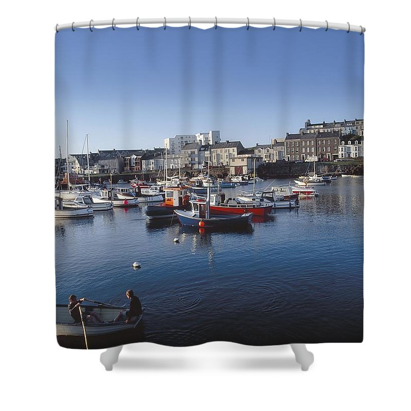Buoy Shower Curtain featuring the photograph Portrush Harbour, Co Antrim, Ireland by The Irish Image Collection