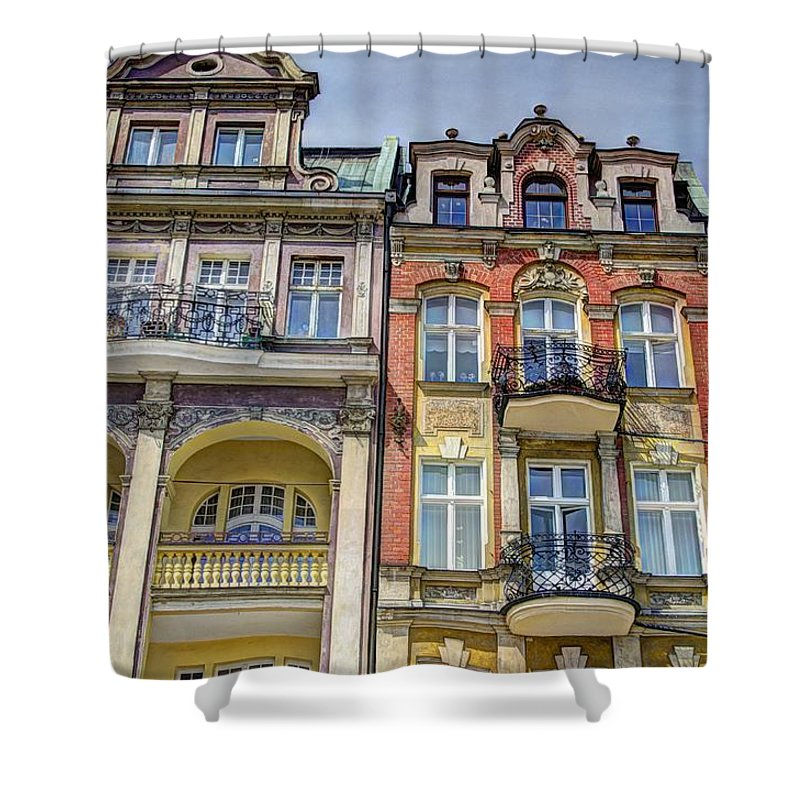 Posnan Shower Curtain featuring the photograph Posnan Facades by Jon Berghoff