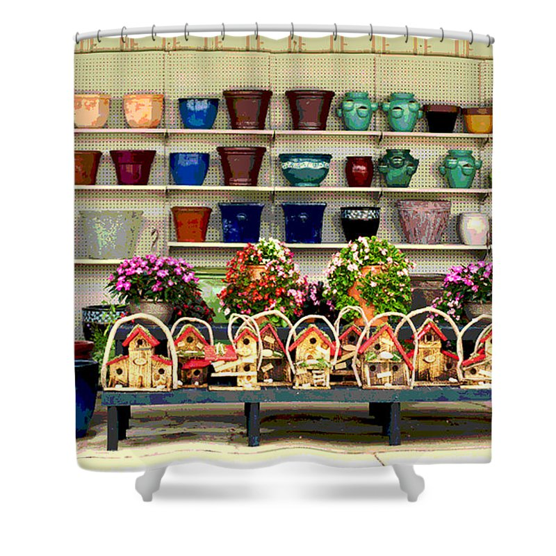 Pots Shower Curtain featuring the photograph Pots And Birdhouses by Paulette B Wright