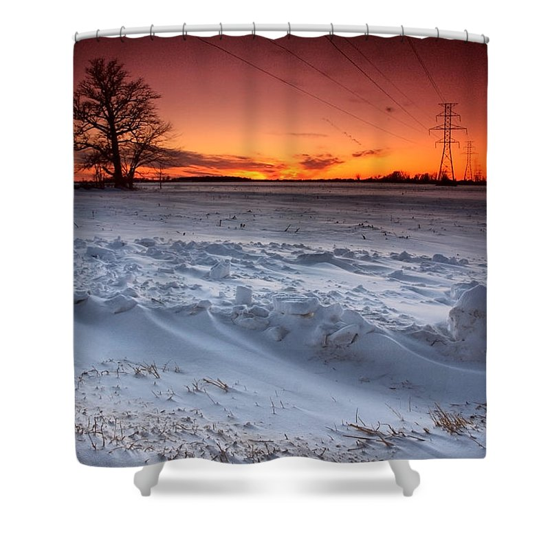 Winter Shower Curtain featuring the photograph Powerlines In Winter by Cale Best