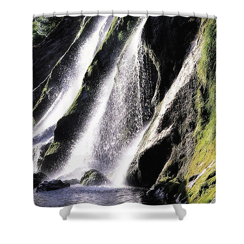 Cascading Shower Curtain featuring the photograph Powerscourt Waterfall, Co Wicklow by The Irish Image Collection