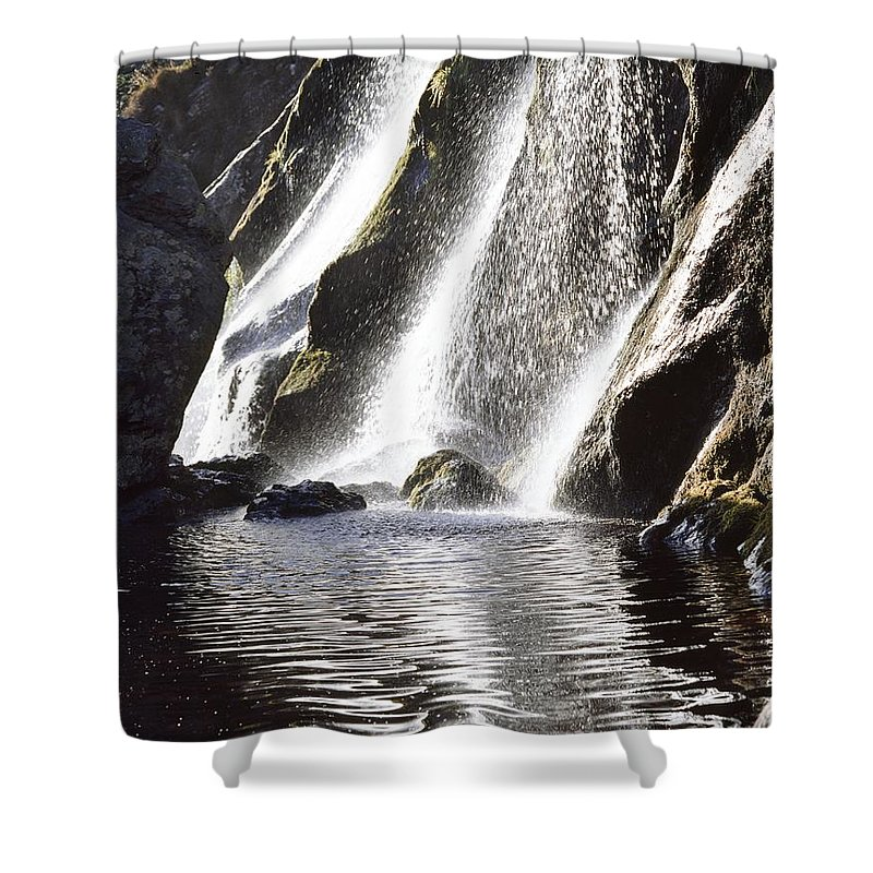 Day Shower Curtain featuring the photograph Powerscourt Waterfall, Powerscourt by The Irish Image Collection