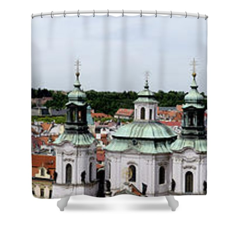 Prague Shower Curtain featuring the photograph Prague Panorama by Jon Berghoff