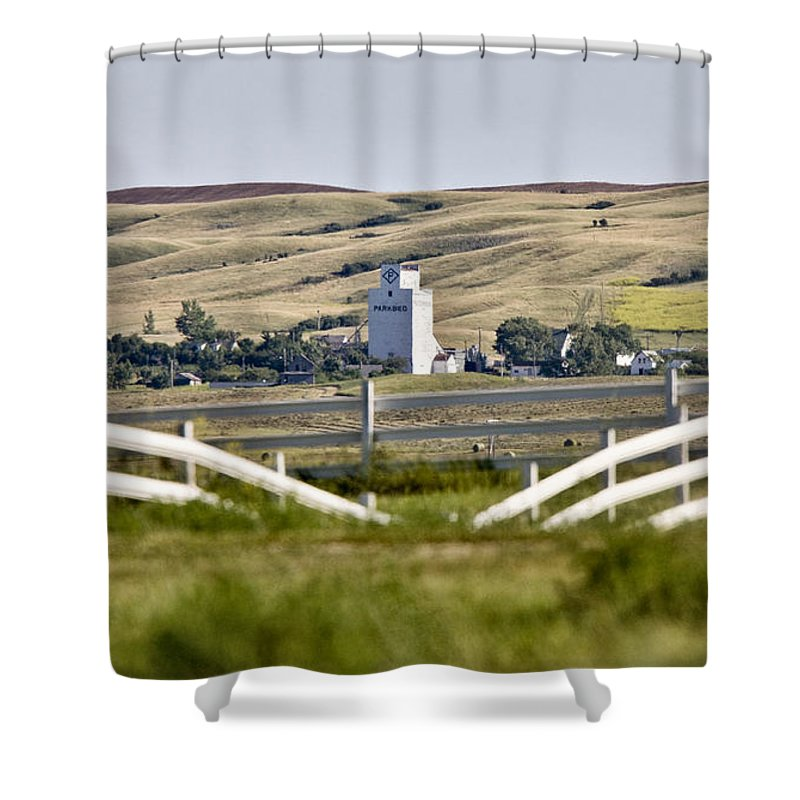 Storage Shower Curtain featuring the photograph Prairie Town With Elevator by Mark Duffy