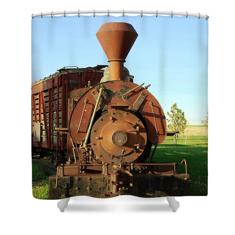 Train Shower Curtain featuring the photograph Prairie Train by Judy Hall-Folde