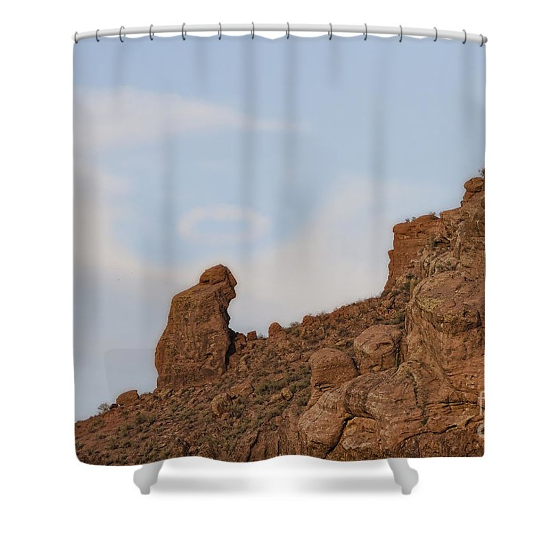 Praying Monk Shower Curtain Featuring The Photograph With Halo Camelback Mountain By