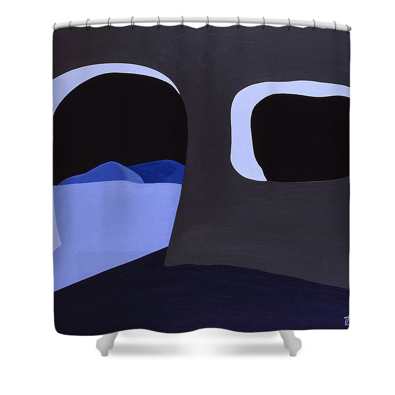 Cave Shower Curtain featuring the painting Prehistoric Nocturne by John Bowers